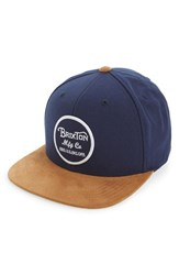 Brixton Men's 'Wheeler' Snapback Cap Blue Navy Copper