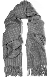 Rag And Bone Pinstriped Merino Wool Scarf Gray