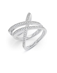 Crislu Cubic Zirconia Platinum And Sterling Silver Mandy Twist Ring