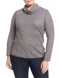 Lafayette 148 New York Striped Turtleneck Sweater Truffle Mu
