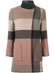 Etro Dislocated Fastening Mid Length Coat Pink And Purple