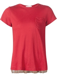 Sacai Luck Back Pleated Panel T Shirt Red