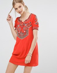 Abercrombie And Fitch Embroidered Boho Dress Cc545 Paprika
