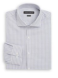 Vince Camuto Slim Fit Check Cotton Dress Shirt Pewter