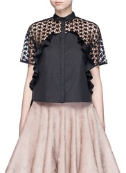 Giamba Star Embroidery Mesh Back Ruffle Shirt Black