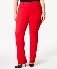 Charter Club Plus Size Lexington Colored Tummy Control Straight Leg Jeans Only At Macy's New Red Amore