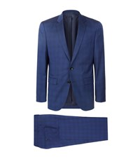 Boss Tailored Check Suit Male Blue