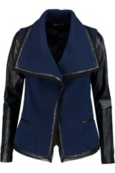 Vince Leather Trimmed Wool Blend Boucle Jacket Blue