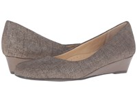 Trotters Lauren Taupe Textured Leather Women's Wedge Shoes