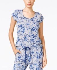 Alfani Floral Print Pajama Top Only At Macy's Blue Paint Petal
