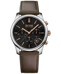 Boss Hugo Men's Chronograph Time One Brown Leather Strap Watch 42Mm 1513448