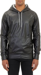 Barneys New York Faux Leather Pullover Hoodie Black Size L