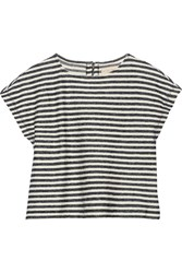 Alice Olivia Cropped Striped Cotton Top Blue