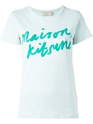 Maison Kitsune 'Handwriting' T Shirt Green