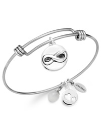 Unwritten Infinity Charm And Rose Quartz 8Mm Bangle Bracelet In Stainless Steel