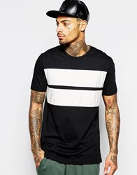 Asos Longline T Shirt With Crocodile Print Leather Look Panels In Relaxed Fit Black