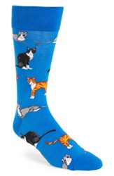 Hot Sox Men's 'Cats' Socks Blue