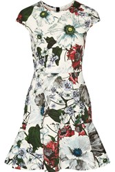 Erdem Darlina Floral Print Neoprene Mini Dress White