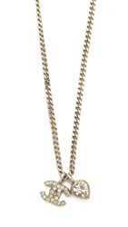 Wgaca Chanel Cc Heart Necklace Previously Owned Silver Crystal