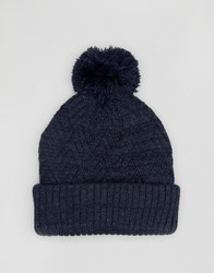 Asos Bobble Beanie With Diagonal Cable Navy Blue