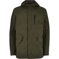 Only And Sons River Island Mens Dark Green Hooded Jacket