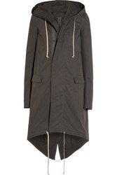 Rick Owens Cotton Twill Hooded Parka Dark Gray