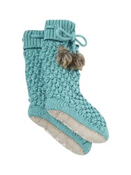 White Stuff Popcorn Slipper Sock Blue