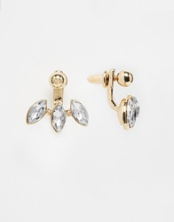 Designsix Crystal Drop Front And Back Earrings Gold