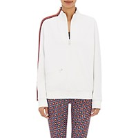 Tory Sport Women's Striped Sleeve Half Zip Sweater White