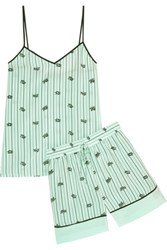 Tibi Printed Silk Crepe De Chine Camisole And Shorts Set Mint