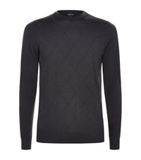 Giorgio Armani Flocked Diamond Sweater Male Grey