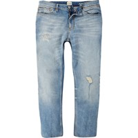 River Island Mens Light Wash Ripped Sid Skinny Cropped Jeans