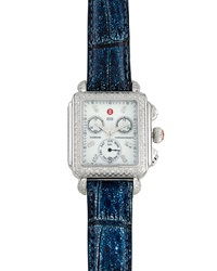 Michele Deco Pave Diamond Alligator Strap Watch Blue