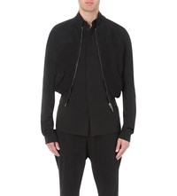 Haider Ackermann Cropped Cotton Bomber Jacket Black