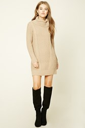Forever 21 Longline Turtleneck Sweater Taupe