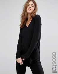 Asos Tall The New Forever T Shirt With Long Sleeves And Dip Back Black