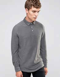 Selected Homme Long Sleeve Twill Polo Grey