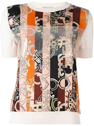 Emilio Pucci Abstract Striped Print T Shirt Pink And Purple