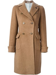 Lardini Double Breasted Coat Brown