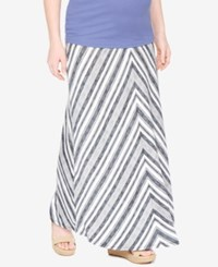 Motherhood Maternity Chevron Maxi Skirt Grey White Stripe
