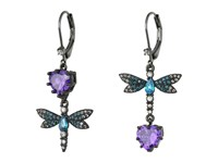 Betsey Johnson Purple Blue Dragonfly Cz Earrings Purple Blue Earring