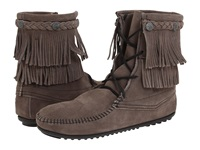 Minnetonka Double Fringe Front Lace Boot Grey Brown White Women's Lace Up Boots Gray