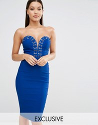Rare London Sweetheart Pencil Dress With Gold Hardwear Cobalt Blue