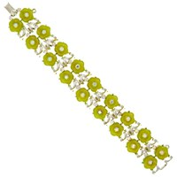 Eclectica Vintage 1970S Gold Plated Abstract Floral Glass Stone Bracelet Gold Green
