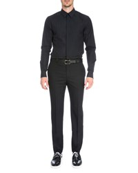 Givenchy Leo Embroidered Bib Tuxedo Shirt Black