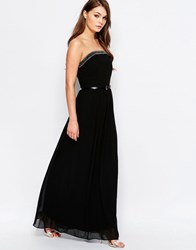 Little Mistress Embellished Bandeau Maxi Dress Black