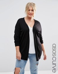 Asos Curve Swing Cardigan With Elbow Patches Black