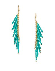 Theodora And Callum Beaded Fringe Drop Earrings Turquoise