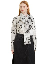 Marc Jacobs Mouse Print Pussybow Shirt Grey