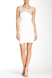 City Triangles Sleeveless Illusion Bodycon Homecoming Dress White